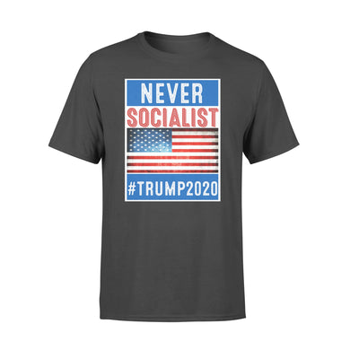 Never Socialist Anti-Socialism Republican USA Flag Trump 2020 Election T-shirt