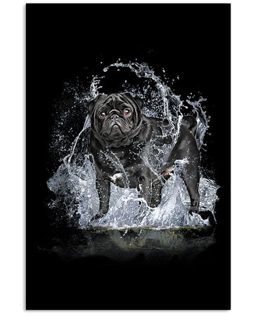 Pug With Water Line Special Gift For Pug Lovers Vertical Poster