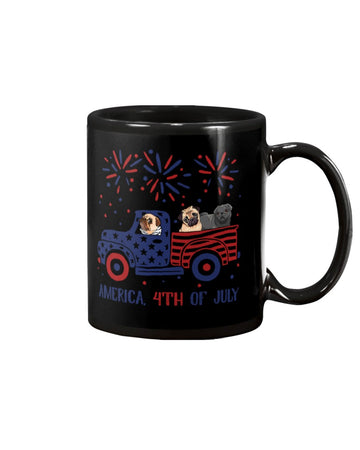 Truck Pug Firework With Amercian Flag Giving Pug Lovers At 4Th Of July Mug