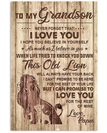 Lions Love Message Of Papa To Grandson Trending Vertical Poster