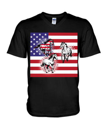Horses Happy America's Independence Day Special Custom Design Guys V-Neck
