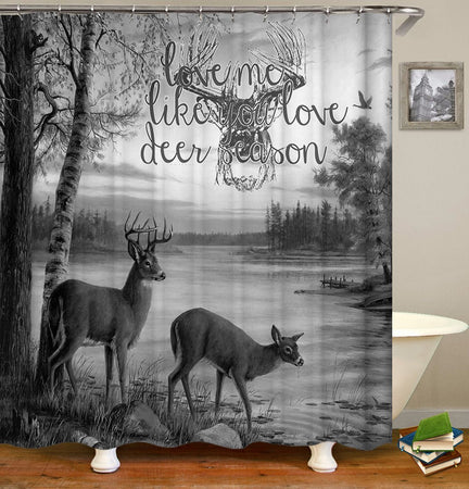 Love Me Like You Love Deer Season Painting Design 3D Printed Shower Curtain Gift Home Decor
