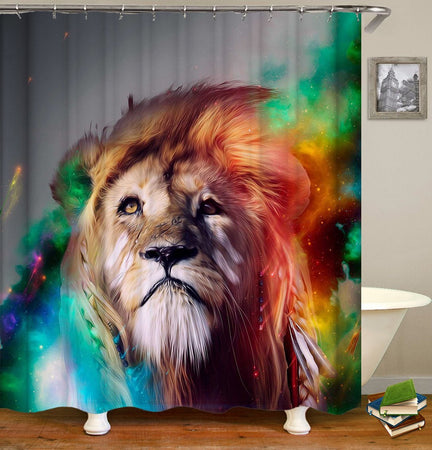 Awesone Lion Colorful Polyester Cloth 3D Printed Shower Curtain