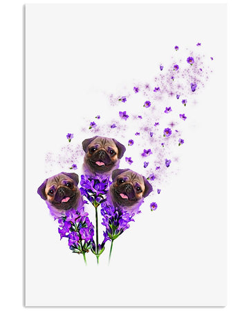 Pug Purple Tiny Flowers Gifts For Dog Lovers Vertical Poster