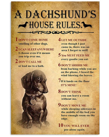 A Dachshund's House Rules Gift For Dog Lovers Vertical Poster
