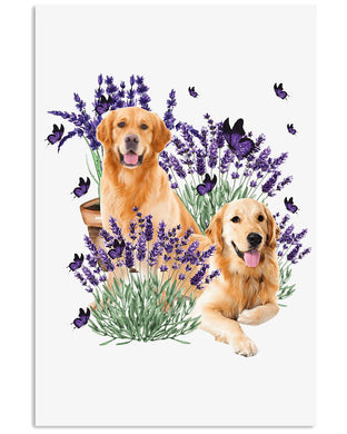 Golden Retriever With Flower Special Custom Design  For Dog Lovers Vertical Poster