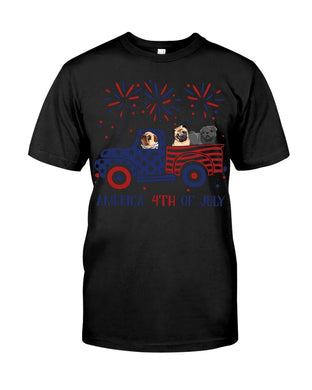 Truck Pug Firework With Amercian Flag Giving Pug Lovers At 4Th Of July Guys Tee