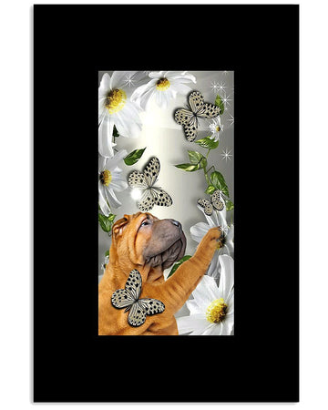 Pug Butterflies And Flowers Special Gifts For Dog Lovers Vertical Poster