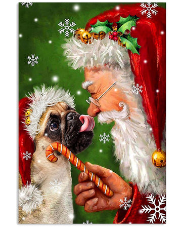 Pug Puppy Smile With Santa Claus Vertical Poster
