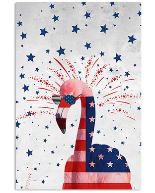 Flamingo Happy America's Independence Day  Special Custom Design Vertical Poster