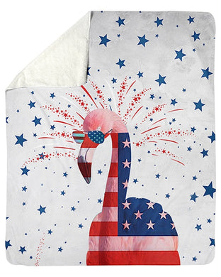 Flamingo Happy America's Independence Day  Special Custom Design Sherpa Blanket