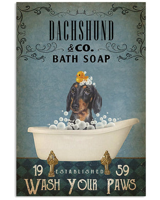 Dachshund Co Bath Soap Wash Your Paws For Dog Lovers Vertical Poster