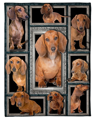 Vintage Dachshund Special  Custom Design For Dog Lovers Fleece Blanket