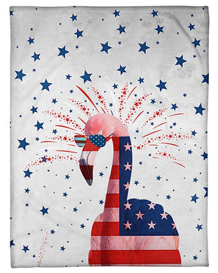 Flamingo Happy America's Independence Day  Special Custom Design Fleece Blanket