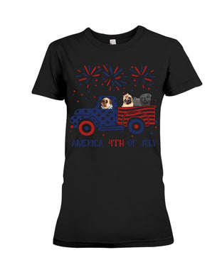 Truck Pug Firework With Amercian Flag Giving Pug Lovers At 4Th Of July Ladies Tee