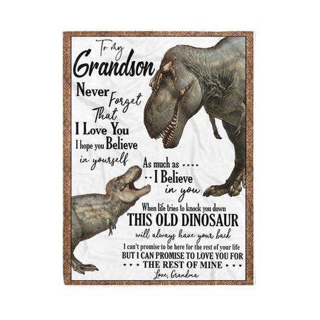 To My Grandson From Grandma T-Rex Blanket Fleece Blanket