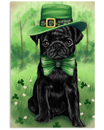 Pug Puppy Shamrock For St.Patrick' Day Gifts For Dog Lovers Vertical Poster