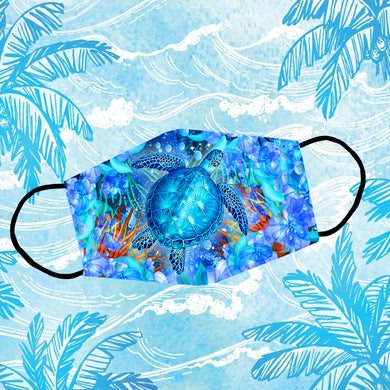 Blue Turtle In Vivid Undersea And Flowers Background Reusable Face Mask/Washable Cloth Mask