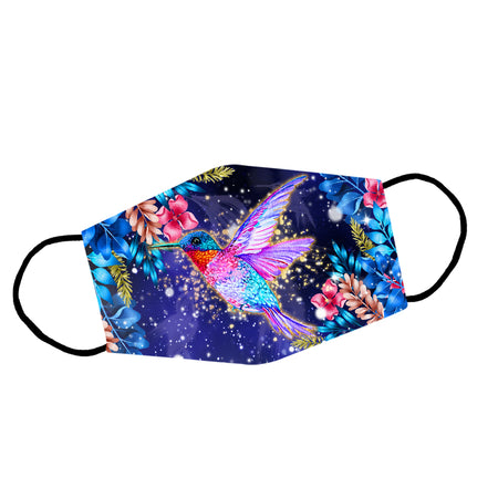 Colorful Hummingbird Flowers And Leaves Reusable Face Mask/Washable Cloth Mask