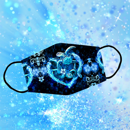 Couple Turtle Heart Glow Reusable Face Mask/Washable Cloth Mask
