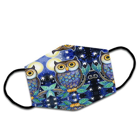 Diamond Night Owl Sitting On A Tree Branch Reusable Face Mask/Washable Cloth Mask