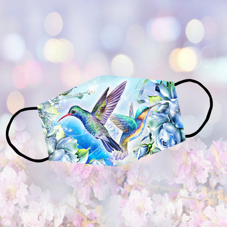 Couple Hummingbirds And Blue Flowers Reusable Face Mask/Washable Cloth Mask