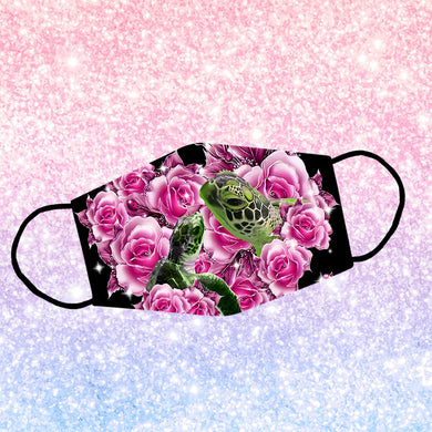 Couple Turtle Rose Flower Reusable Face Mask/Washable Cloth Mask