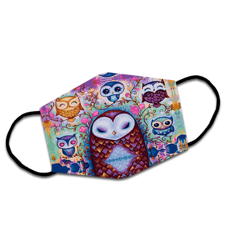 Adorable Family Owls Perched On The Flowery Branch Reusable Face Mask/Washable Cloth Mask