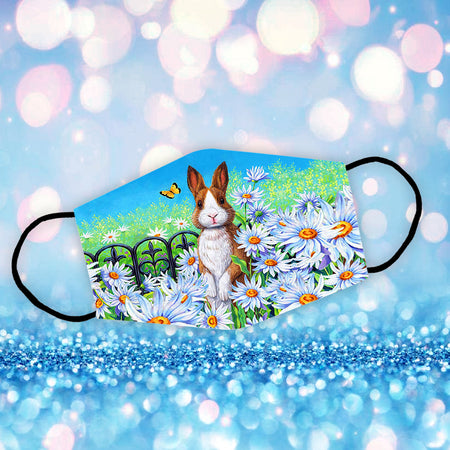 Brown Rabbit In Flowers Garden Reusable Face Mask/Washable Cloth Mask