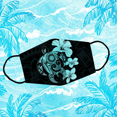 Polynesian Pattern Sea Turtle Turquoise Hibiscus Reusable Face Mask/Washable Cloth Mask