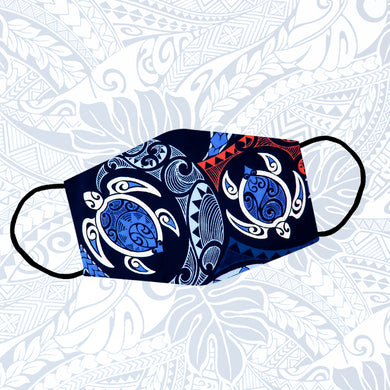 Navy Blue Unique Design Polynesian Pattern Turtle Couple Reusable Face Mask/Washable Cloth Mask