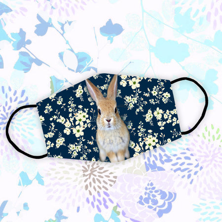 Rabbit With Flower Pattern Reusable Face Mask/Washable Cloth Mask