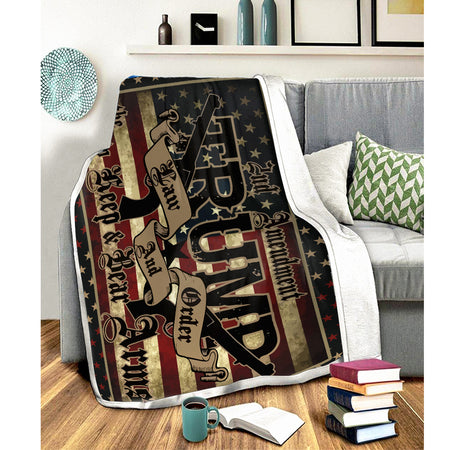 Trump 2nd Amendment US Election 2020 Blanket Custom Warm Cozy Fluffy Fleece Blanket