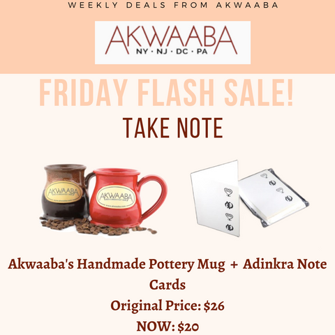 Friday Flash Sale - Akwaaba's Handmade Pottery Mug + Adinkra Note Cards