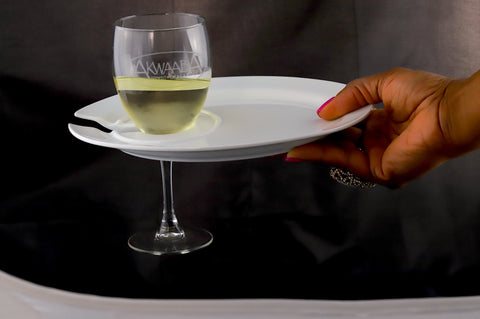 Akwaaba Ceramic Cocktail Plate With Wine Glass Holder