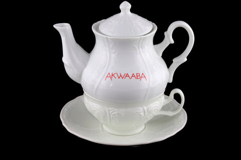 "Akwaaba Ceramic ""Vintage"" Stackable Tea Set For One"