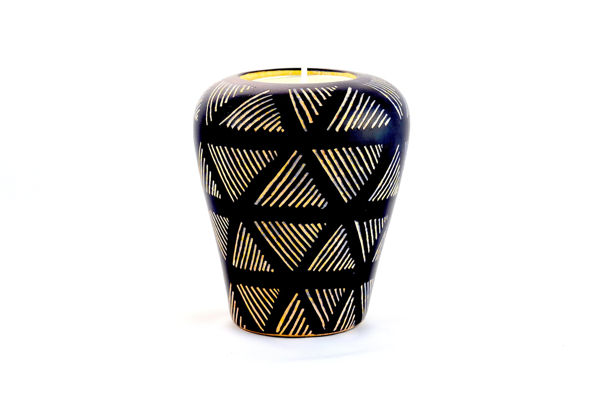 Graphic Black And White Tea Light/Taper Candle Holder (Kenya)