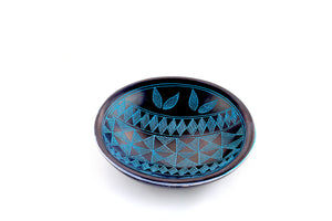 Black And Blue Soapstone Kuba Bowl (Kenya)