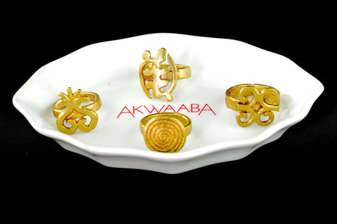 Brass Adrinka Symbol Ring
