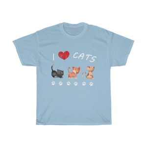 I Love Cats Unisex Heavy Cotton Tee-0049