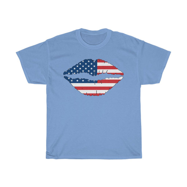US Flag Kiss Unisex Heavy Cotton Tee/T-shirt