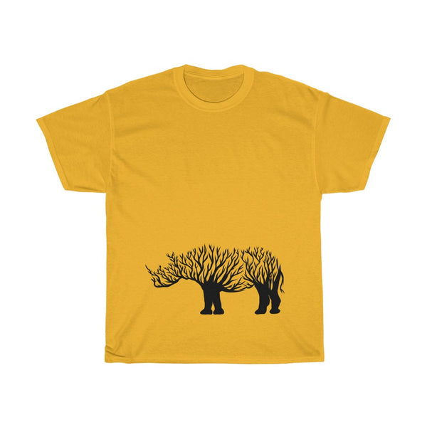 Rhino Line Art Unisex Heavy Cotton Tee/T-shirt