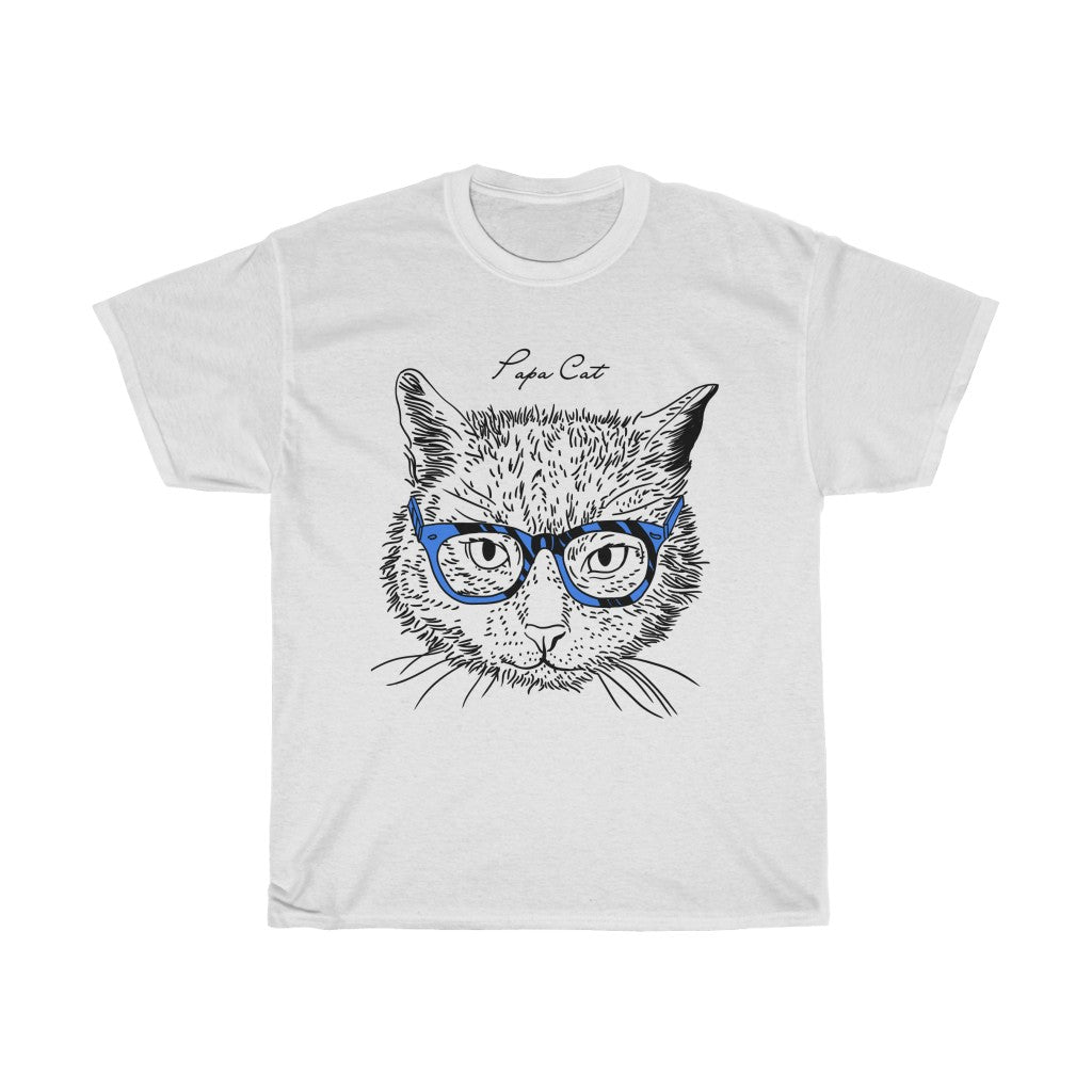 Papa Cat Unisex Heavy Cotton Tee-0047-C