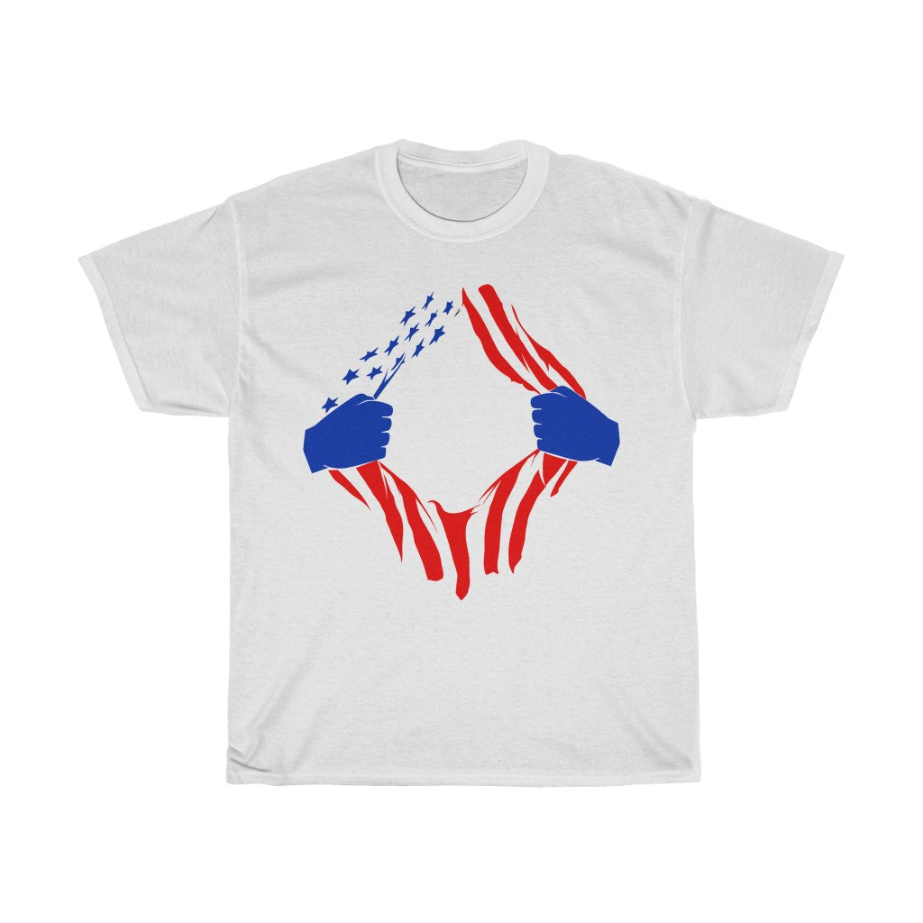 US Flag Torn Unisex Heavy Cotton Tee/T-shirt