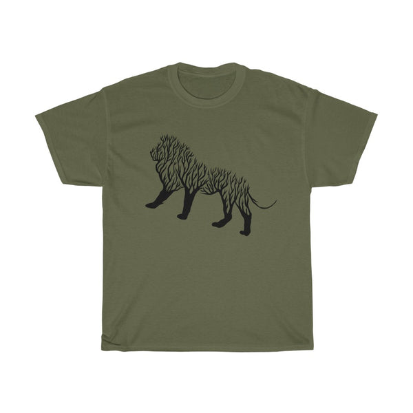 Lion Line Art Unisex Heavy Cotton Tee/T-shirt