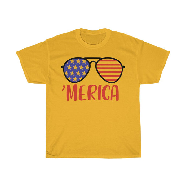 US Flag Glass Unisex Heavy Cotton Tee/T-shirt