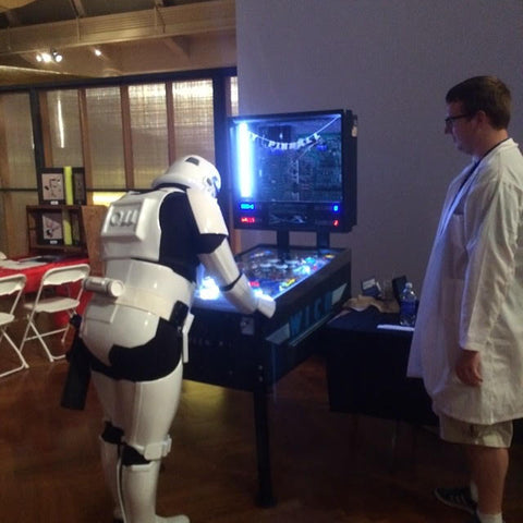 A Stormtrooper playing Pinball