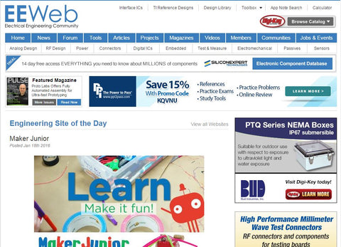 EEWeb Engineering Site of the Day featuring Maker Junior