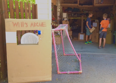 Another shot of Will's Cardboard Arcade, looking into the garage.