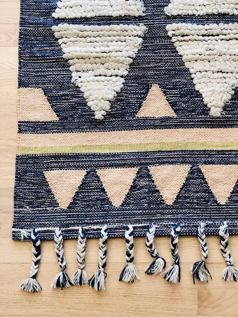 Blue Cotton Shaggy Rug
